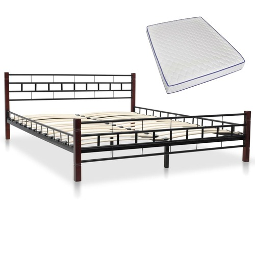 Bed with Memory Foam Mattress Black Metal 153x203 cm Queen