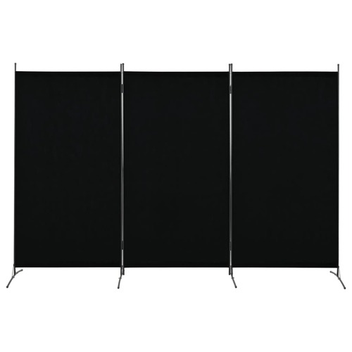 280270 3-Panel Room Divider Black 260x180 cm