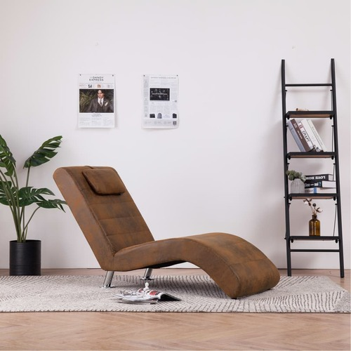 Chaise Longue with Pillow Brown Faux Suede Leather