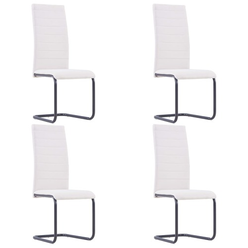 Cantilever Dining Chairs 4 pcs Cream Fabric