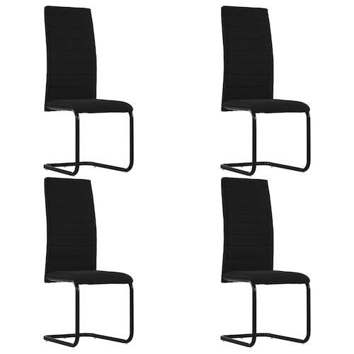 Cantilever Dining Chairs 4 pcs Black Fabric