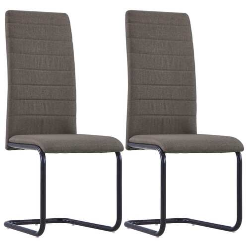 Cantilever Dining Chairs 2 pcs Taupe Fabric