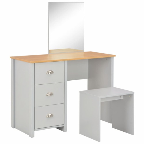 Dressing Table with Mirror and Stool Grey 104x45x131 cm