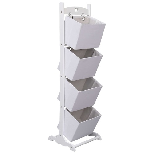 4-Layer Basket Rack White 35x35x125 cm Wood