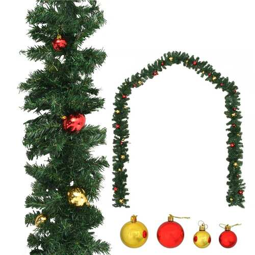 Christmas Garland Decorated with Baubles 5 m