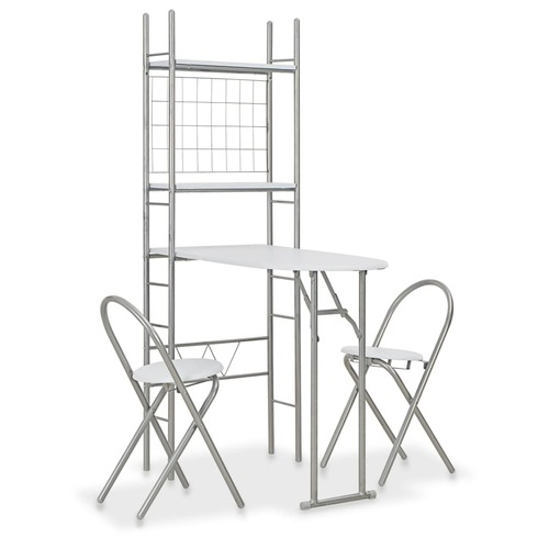 3 Piece Folding Dining Set with Storage Rack MDF and Steel White