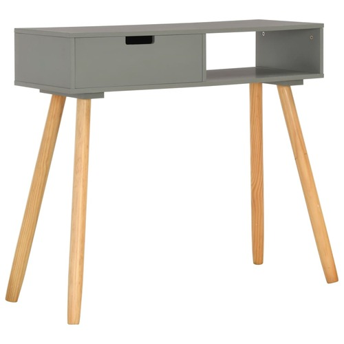 Console Table Grey 80x30x72 cm Solid Pinewood