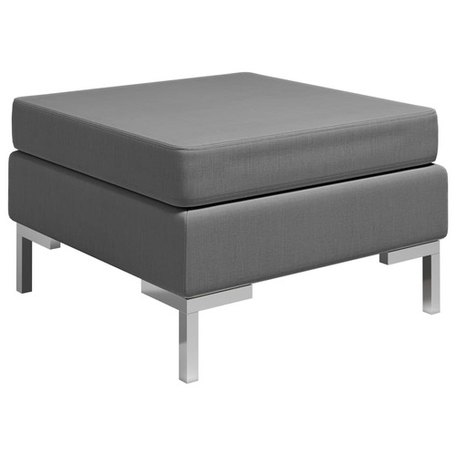 Sectional Footrest with Cushion Farbic Dark Grey