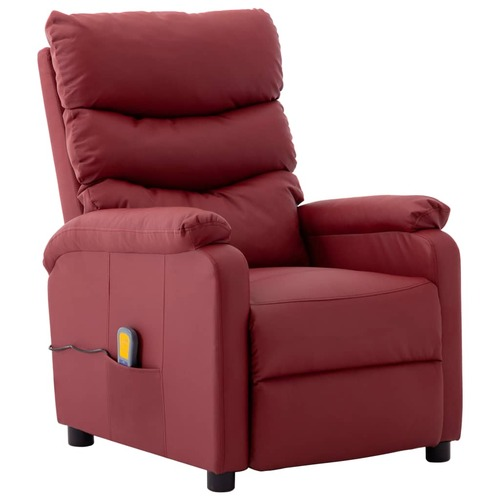 Massage Reclining Chair Wine Red Faux Leather