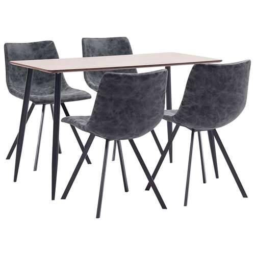 5 Piece Dining Set Black Faux Leather