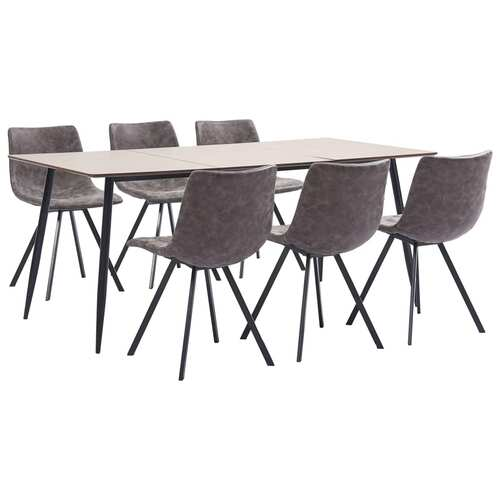 7 Piece Dining Set Brown Faux Leather