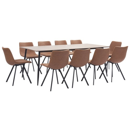 11 Piece Dining Set Medium Brown Faux Leather