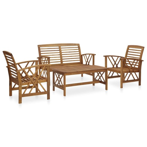 4 Piece Garden Lounge Set Solid Acacia Wood (310266+310272)