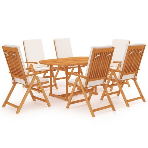 7 Piece Garden Dining Set with Cushions Solid Teak Wood