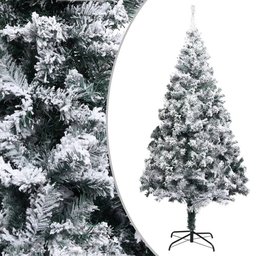 Artificial Christmas Tree with Flocked Snow Green 240 cm PVC