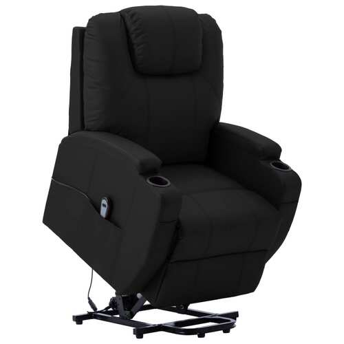 Stand-up Recliner Black Faux Leather
