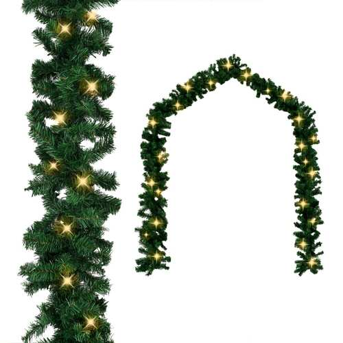 Christmas Garland with LED Lights Green 10 m PVC