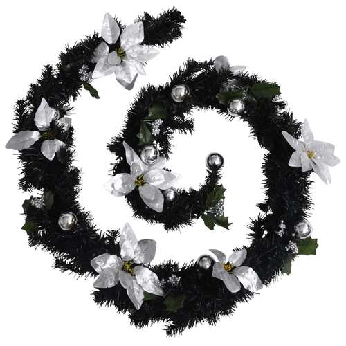 Christmas Garland with LED Lights Black 2.7 m PVC