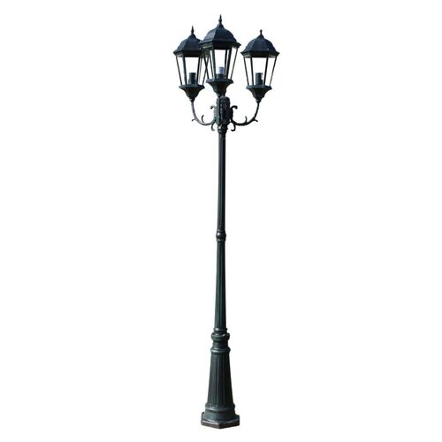 Brighton Garden Light Post 3-arms 230 cm Dark Green/Black