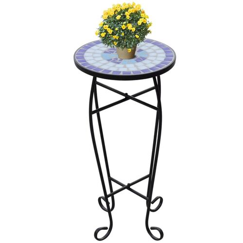 Mosaic Plant Table Blue and White