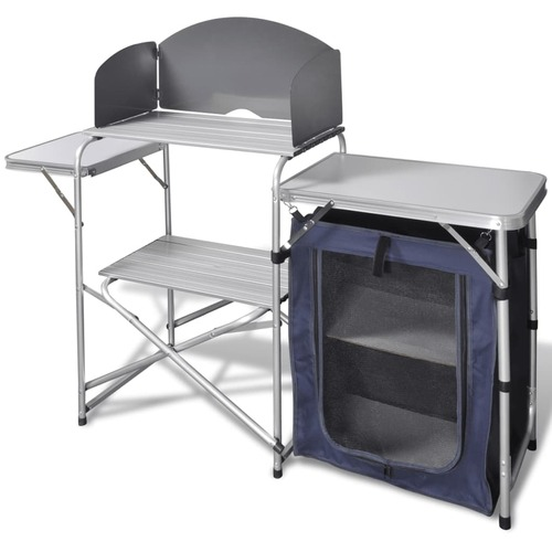 Foldable Camping Kitchen Unit with Windshield Aluminium