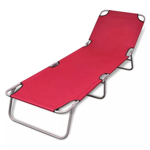 Folding Sun Lounger Powder-coated Steel Red