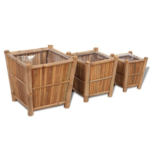 3 pcs Bamboo Raised Bed with Nylon Lining