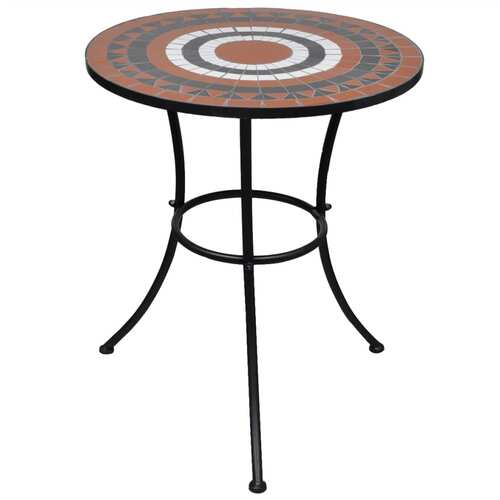 Bistro Table Terracotta and White 60 cm Mosaic