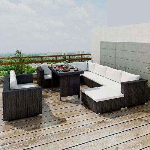 10 Piece Garden Lounge Set with Cushions Poly Rattan Black