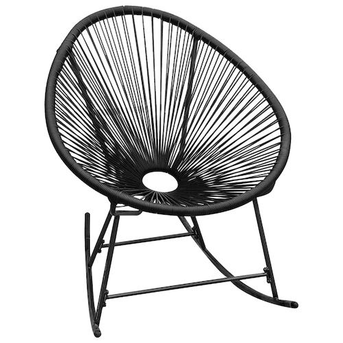 Outdoor Rocking Chair Black Poly Rattan