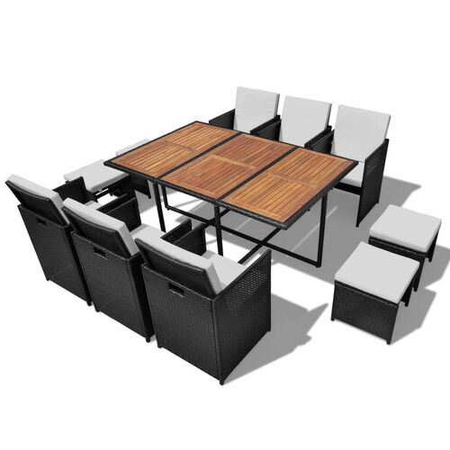 11 Piece Outdoor Dining Set Poly Rattan and Acacia Wood Black