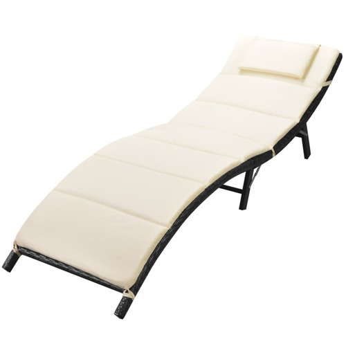 Folding Sun Lounger with Cushion Poly Rattan Black