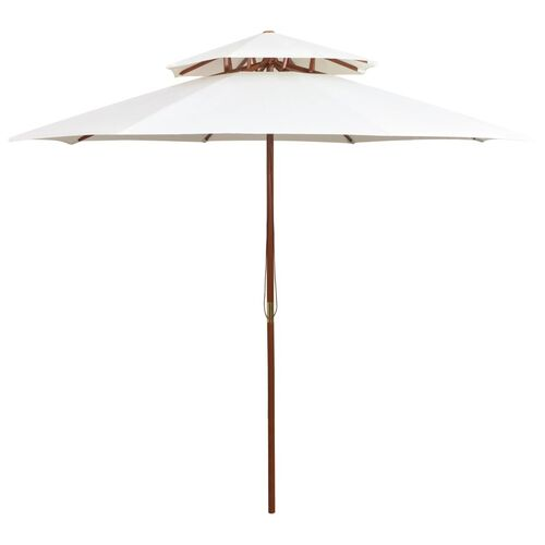 Double Decker Parasol 270x270 cm Wooden Pole Cream White