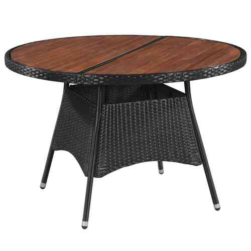 Garden Table 115x74 cm Poly Rattan and Solid Acacia Wood