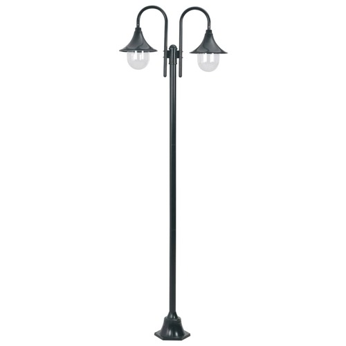 Garden Post Light E27 220 cm Aluminium 2-Lantern Dark Green