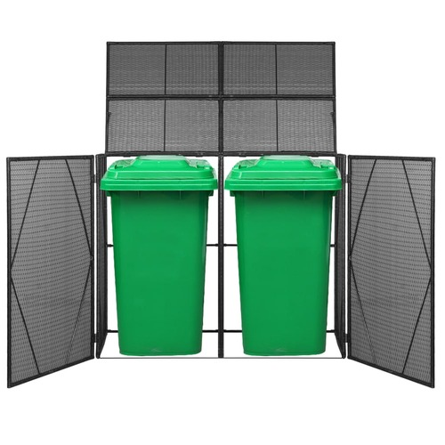 Double Wheelie Bin Shed Poly Rattan 153x78x120 cm Black