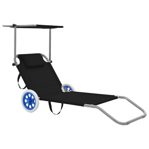 Folding Sun Lounger with Canopy and Wheels Steel Black