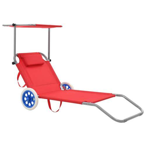 Folding Sun Lounger with Canopy and Wheels Steel Red