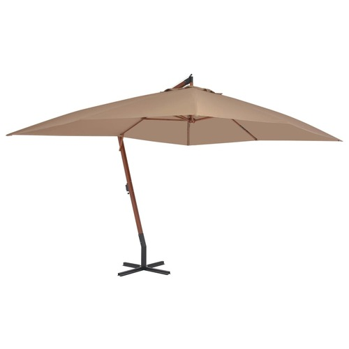 Cantilever Umbrella with Wooden Pole 400x300 cm Taupe