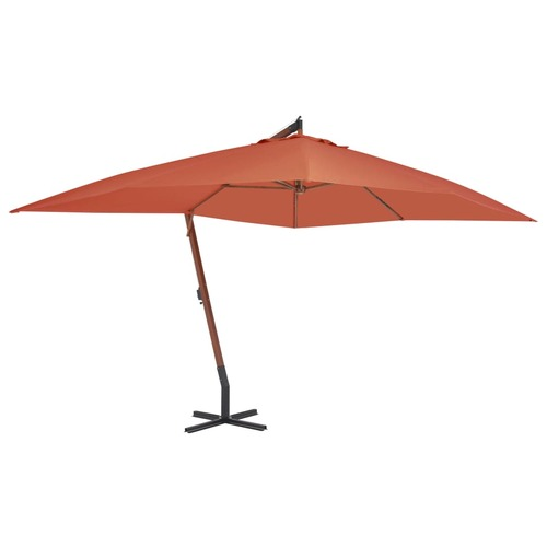 Cantilever Umbrella with Wooden Pole 400x300 cm Terracotta