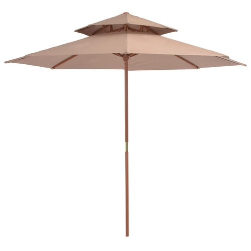 Double Decker Parasol with Wooden Pole 270 cm Taupe