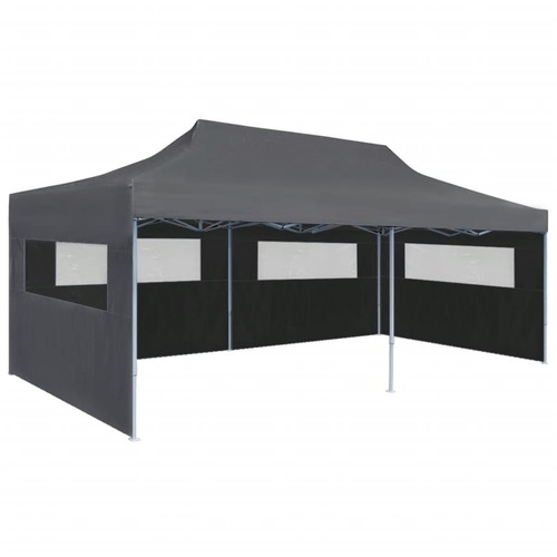 Folding Pop-up Partytent with Sidewalls 3x6 m Anthracite