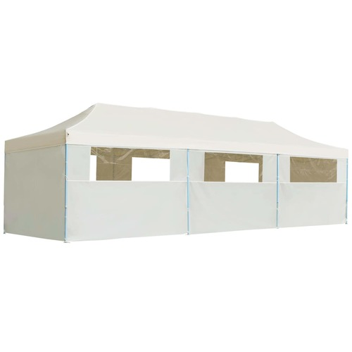 Folding Pop-up Party Tent with 8 Sidewalls 3x9 m Cream