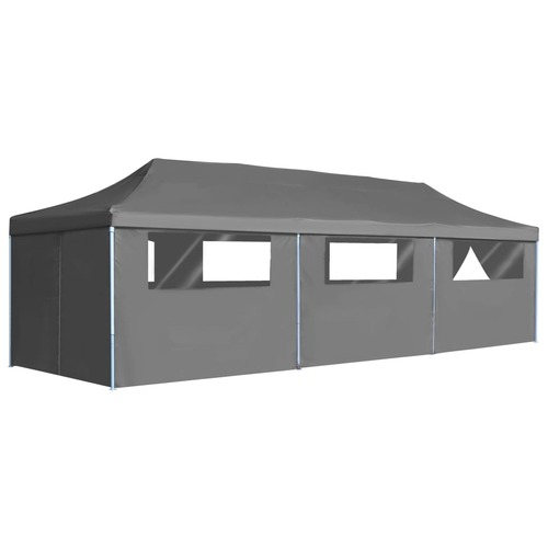 Folding Pop-up Party Tent with 8 Sidewalls 3x9 m Anthracite