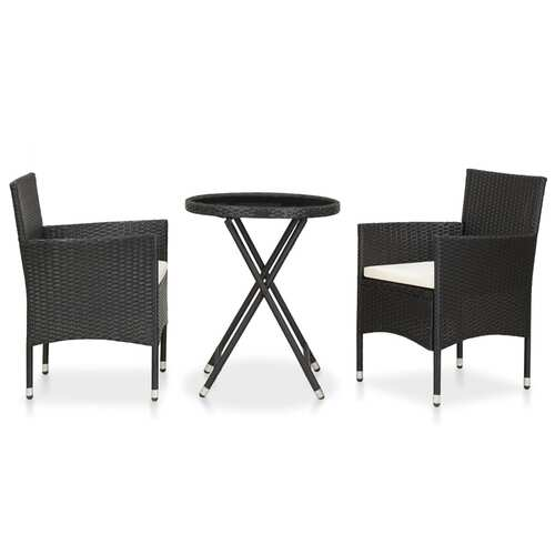 3 Piece Garden Bistro Set Poly Rattan and Tempered Glass Black