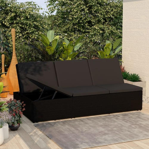 Convertible Sun Bed with Cushion Poly Rattan Black