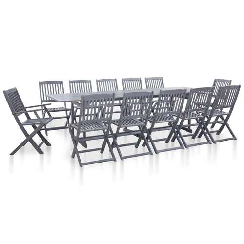 13 Piece Garden Dining Set Solid Acacia Wood Grey