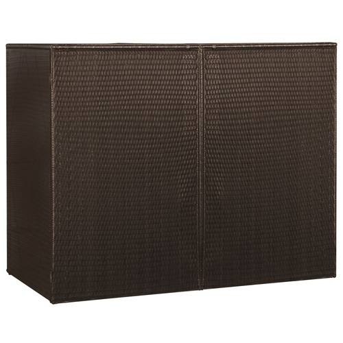 Double Wheelie Bin Shed Brown 153x78x120 cm Poly Rattan