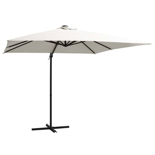 Cantilever Umbrella with LED lights and Steel Pole 250x250 cm Sand