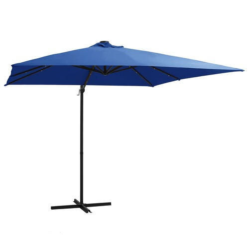 Cantilever Umbrella with LED lights and Steel Pole 250x250 cm Azure Blue
